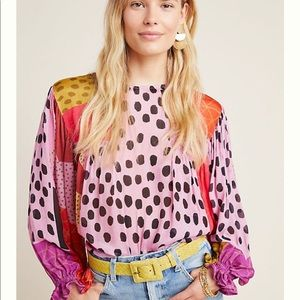 Super fun printed blouse from Anthropologie